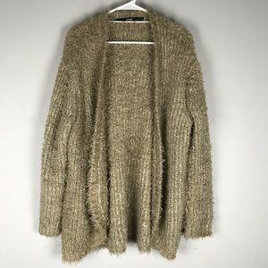 Kensie eyelash fuzzy knit cardigan sweater tan